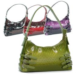 Dasein Patent Synthetic Leatherette Embossed Snake Skin Shoulder Bag