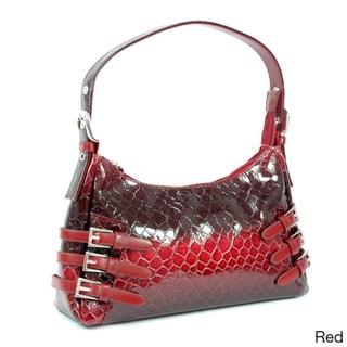 Dasein Patent Synthetic Leatherette Embossed Snake Skin Shoulder Bag
