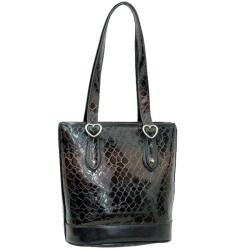 Dasein Patent Leatherette Embossed Snake Skin Shoulder Bag