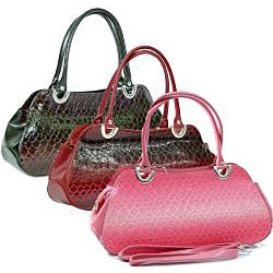 Dasein Patent Embossed Snake Skin Leatherette Shoulder Bag