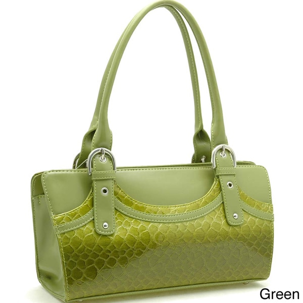 Dasein Leatherette Embossed Snake Skin Zip-Top Shoulder Bag
