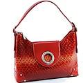 Shiny Red Leatherette Embossed Croco Shoulder Bag