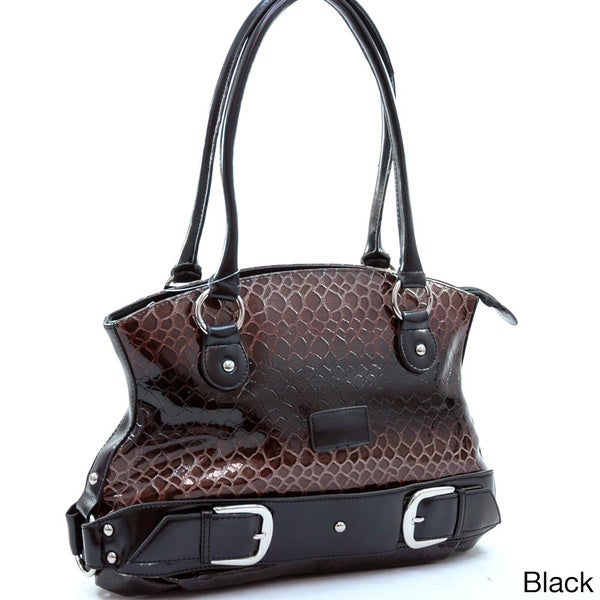 Dasein Leatherette Embossed Snake Skin Tote Bag