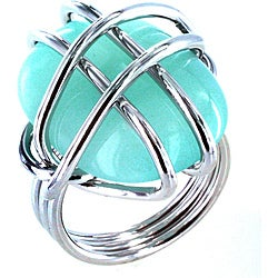 Silvertone Wire-wrapped Aqua-colored Stone Cocktail Ring