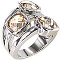 West Coast Jewelry Silvertone Champagne Crystal 3-stone Fashion Ring