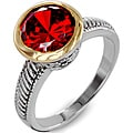 West Coast Jewelry Two-tone Red Cubic Zirconia Antiqued Ring