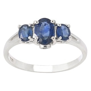 De Buman Sterling Silver Sapphire and White Topaz Ring (Size 7.25)