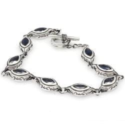 De Buman Sterling Silver Marquise Sapphire Bracelet
