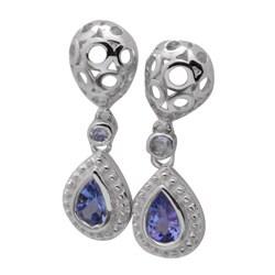 De Buman Sterling Silver Blue Tanzanite Earrings