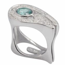 De Buman Sterling Silver Oval-cut Green Apatite and White Topaz Ring