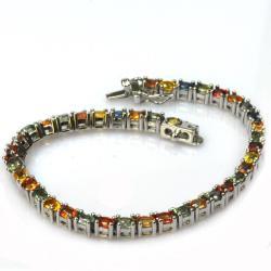 De Buman 18k Yellow Gold and Silver Colorful Sapphire Bracelet