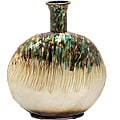Casa Cortes Nacre Pearl Hand-Finished Artesian Round Lightweight Metal Vase