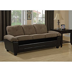Brown Microfiber/ Leather-look Sofa with Storage