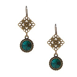 Brass Green Crystal Earrings