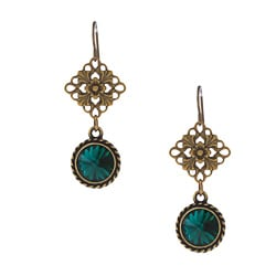 MSDjCASANOVA Brass Green Crystal Earrings