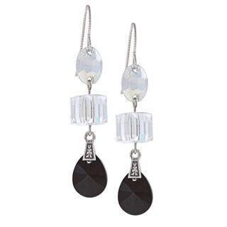 Silver Three-Shape Crystal Earrings