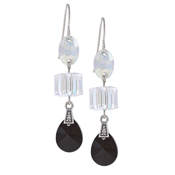 MSDjCASANOVA Silver Three-shape Crystal Earrings