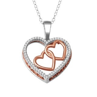 De Couer Pink-plated Silver 1/6ct TDW Diamond Heart Necklace (H-I, I2)