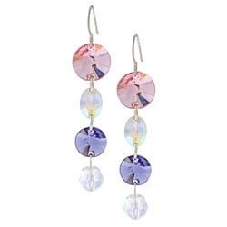 MSDjCASANOVA Argentium Silver Pink and Purple Crystal Earrings