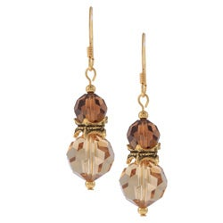 Gold Overlay Double Decker Brown Crystal Earrings