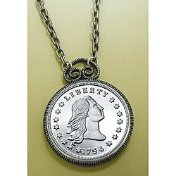 American Coin Treasures 1794 Stella Flowing Hair Dollar Replica Coin in Antique Silver Pendant Coin Jewelry