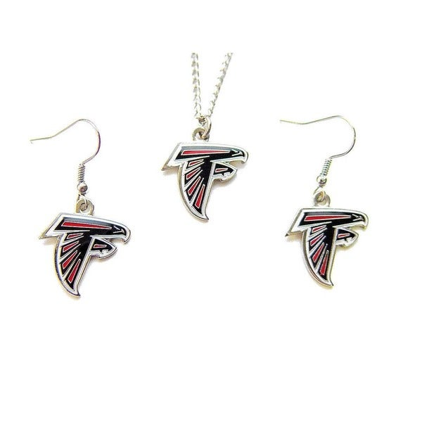 Atlanta Falcons Necklace and Dangle Earrings Charm Set