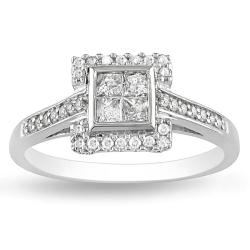 Miadora 10k White Gold 1/2ct TDW Princess Cut Composite Diamond Ring (G-H, I2-I3)