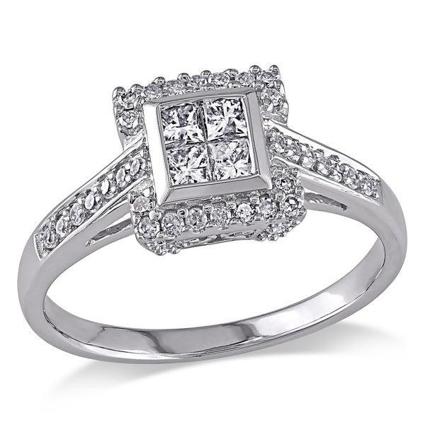 Miadora 10k White Gold 1/2ct TDW Princess Cut Diamond Ring (G-H, I2-I3)