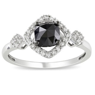 Miadora 10k White Gold 1ct TDW Black and White Diamond Halo Ring (G-H, I2-3) with Bonus Earrings