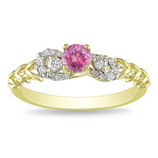 Miadora 18k Gold 2/5ct TDW Pink and White Diamond Engagement Ring (G-H, SI1-SI2)