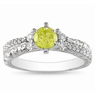 Miadora 18k Gold 3/4ct TDW Yellow and White Diamond Ring (G-H, SI1-SI2)