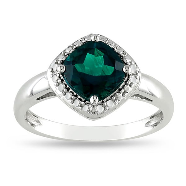 Miadora Sterling Silver 2ct TGW Created Emerald Fashion Ring