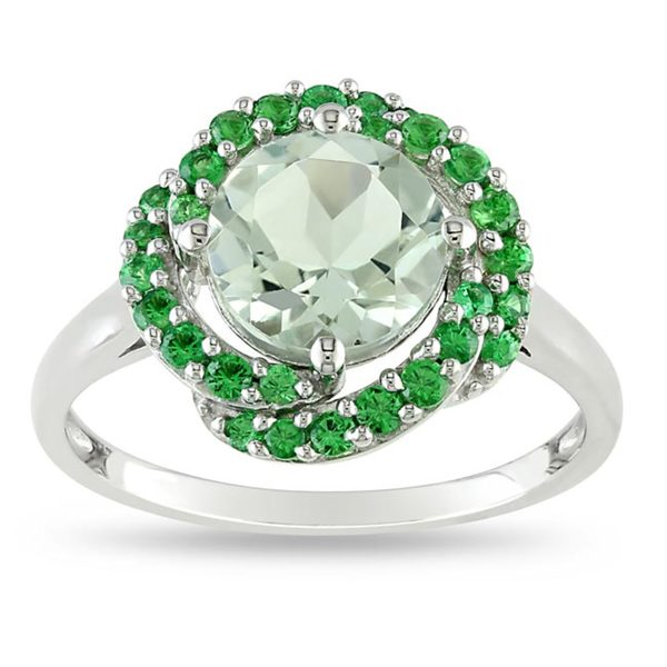 Miadora Sterling Silver 2-1/5ct TGW Green Amethyst/ Tsavorite Cocktail Ring