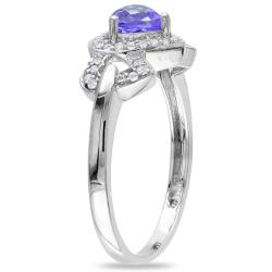 Miadora 10k White Gold Tanzanite and 1/8ct TDW Heart Ring (G-H, I2)