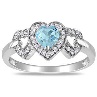 Miadora 10k White Gold Blue Topaz and 1/8ct TDW Diamond Heart Ring (G-H, I2-3)
