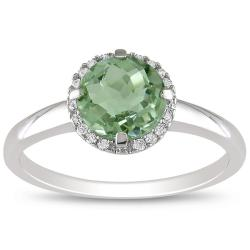 Miadora 10k White Gold Green Amethyst and Diamond Ring (G-H, I2-I3)