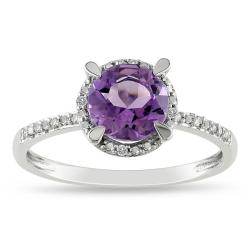 Miadora 10k White Gold Amethyst and Diamond Accent Ring