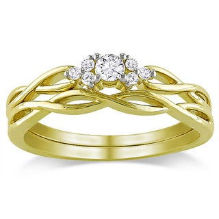 Miadora 10k Yellow Gold 1/6ct TDW 2-Piece Diamond Ring Set (G-H, I2-I3)