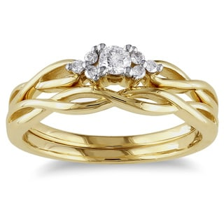 Miadora 10k Yellow Gold 1/6ct TDW 2-Piece Diamond Ring Set (G-H, I2-I3) with Bonus Earrings