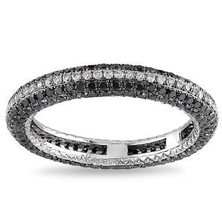 Miadora 14k White Gold 1 1/3ct TDW Black and White Diamond Ring (G-H, SI1-SI2)