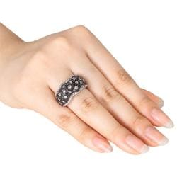 Miadora Sterling Silver 3/8ct TDW Black and White Diamond Ring