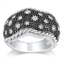 Miadora Black and White Sterling Silver 3/8ct TDW Diamond Ring