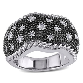 M by Miadora Sterling Silver 3/8ct TDW Black and White Diamond Ring