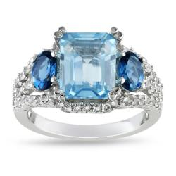 Miadora Sterling Silver Topaz and Created Sapphire Ring