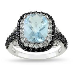 Miadora Silver Topaz, Spinel and Created Sapphire Ring