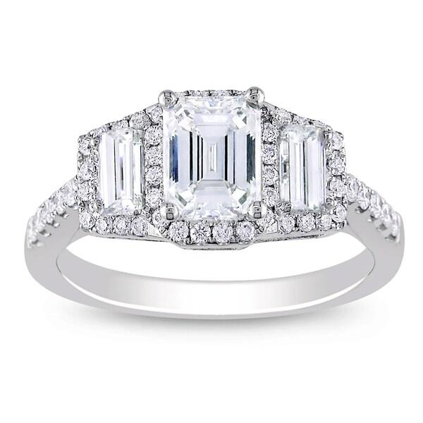 Miadora 18k White Gold 1 1/2ct TDW Emerald Cut Diamond Ring (D, VS2)
