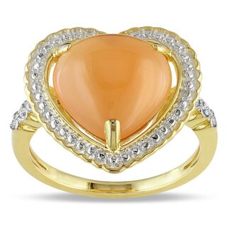 Miadora Yellow Silver Orange Moonstone and Diamond Accent Heart Ring (G-H, I3)
