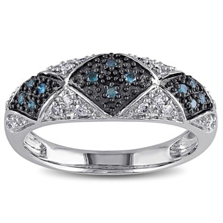 Haylee Jewels Sterling Silver 1/4ct TDW Blue and White Diamond Ring (G-H, I2-I3)