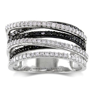 Miadora Sterling Silver 1ct TDW Black and White Diamond Wide Band Fashion Ring