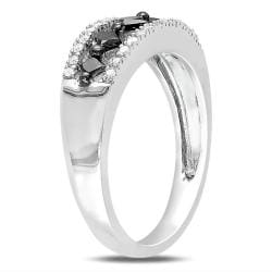 Miadora Sterling Silver 1/2ct TDW Black and White Diamond Ring (G-H, I2-I3)